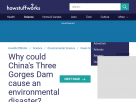 Why could China's Three Gorges Dam cause an environmental disaster?