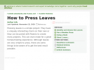 How to press flowers and leaves.