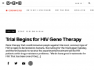 Trial begins for HIV gene therapy.