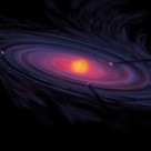 Artistic depiction of the process of accretion in the protoplanetary disk