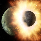 Artistic depiction of the collision between Theia and the Earth (II)