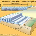 Diagram of the formation of a tsunami
