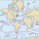 Diagram of the surface oceanic currents, with their names